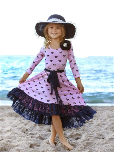 Girls Pink & Navy Bow Print Twirl Princess Dress with Lace Ruffle - Girls Spring Dressy Dress