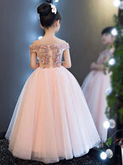 Girls Pink Off the Shoulder Floral Embroidered Flower Girl & Pageant Floor Length Dress - Girls Gown