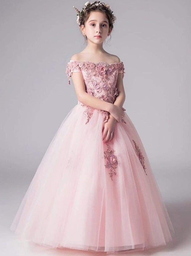 Girls Pink Off the Shoulder Floral Embroidered Flower Girl & Pageant Floor Length Dress - Pink / 8 - Girls Gown