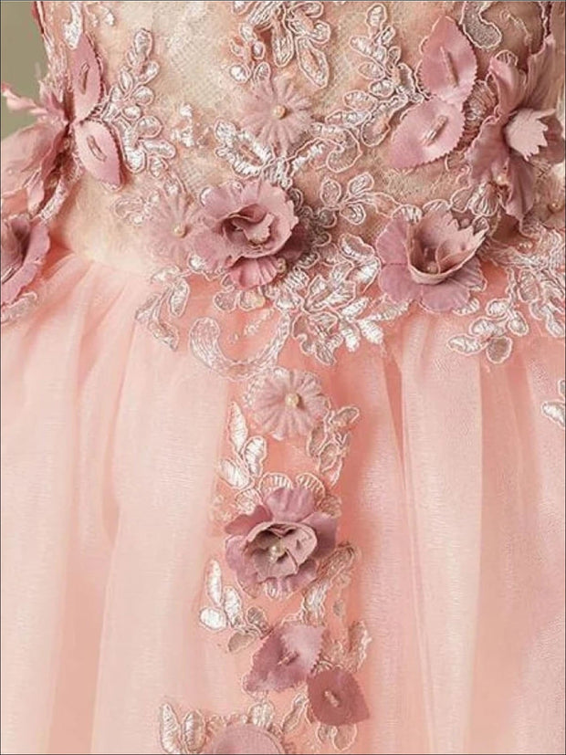 Girls Pink Off the Shoulder Floral Embroidered Pearl Tutu Flower Girl & Special Occasion Party Dress - Girls Spring Dressy Dress