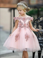 Girls Pink Off the Shoulder Floral Embroidered Pearl Tutu Flower Girl & Special Occasion Party Dress - pink / 8 - Girls Spring Dressy Dress