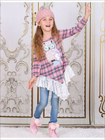 Girls Pink Owl Applique Triangle Bottom Tunic with Lace Rufflw - Girls Fall Top