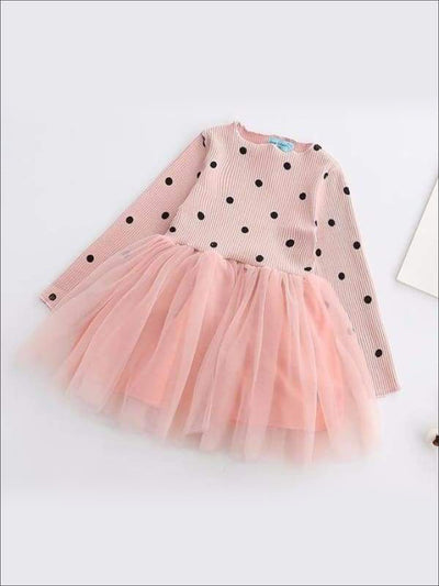 Girls Pink Polka Dot Tutu Dress with Bow Sash - Girls Fall Casual Dress