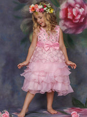 Girls Pink Princess Cascading Ruffle Flower Embroidery Party Dress with Bow - Girls Fall Dressy Dress