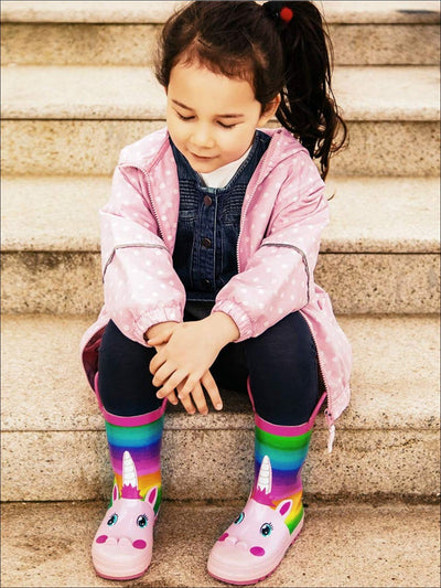 Girls Pink Rainbow Unicorn Rubber Rain Boots - Girls Boots