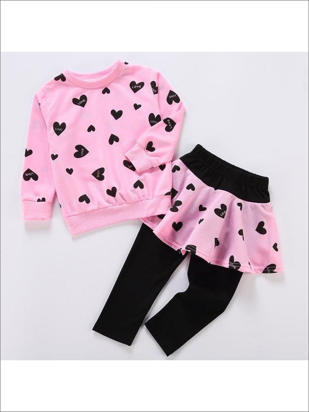 Girls Pink Red & Black Heart Top & Skirted Leggings Set - Girls Fall Set