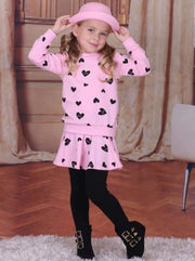 Girls Pink Red & Black Heart Top & Skirted Leggings Set - Pink / 24M - Girls Fall Set