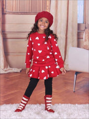 Girls Pink Red & Black Heart Top & Skirted Leggings Set - Red / 24M - Girls Fall Set