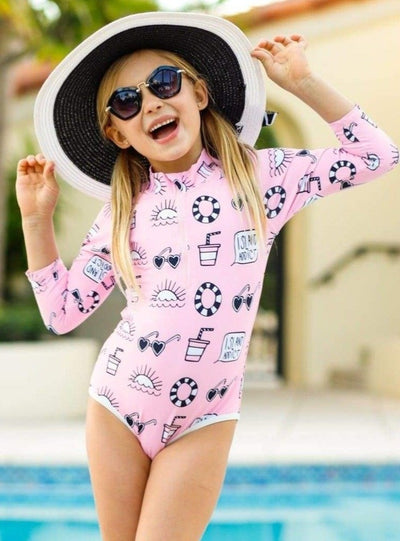 Girls Pink Retro Print Zippered Long Sleeve Rash Guard One Piece Swimsuit - Girls One Piece Swimsuit