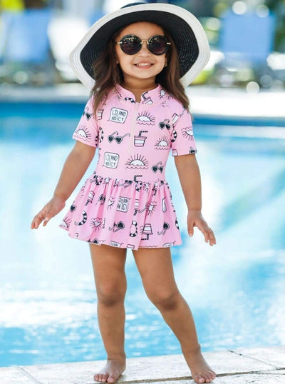 Girls Pink Retro Print Zippered Skirted Rash Guard One Piece Swimsuit - Girls One Piece Swimsuit