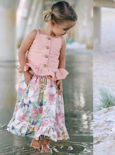 Girls Pink Ruffled Button Up Top & Ruffled Floral Maxi Skirt Set - Girls Spring Casual Set