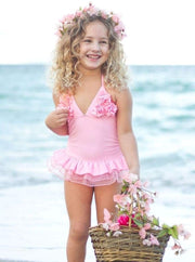 Girls Pink Ruffled Tutu One Piece Swimsuit - Girls One Piece Swimsuit