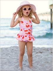 Girls Pink Skirted Ice Cream Cone Print Halter One Piece Swimsuit - Girls One Piece Swimsuit