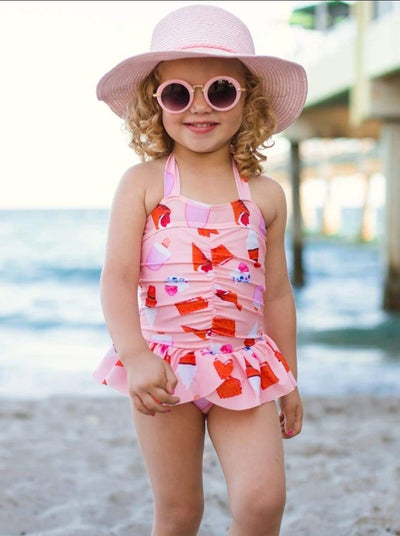 Girls Pink Skirted Ice Cream Cone Print Halter One Piece Swimsuit - Pink / 3T - Girls One Piece Swimsuit