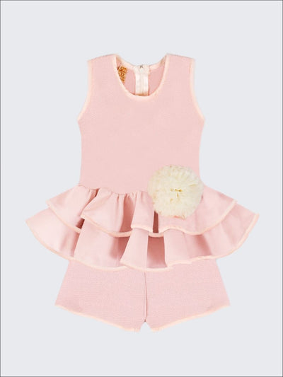 Girls Pink Sleeveless Double Peplum Top with Flower Clip & Shorts Set - Girls Spring Dressy Set