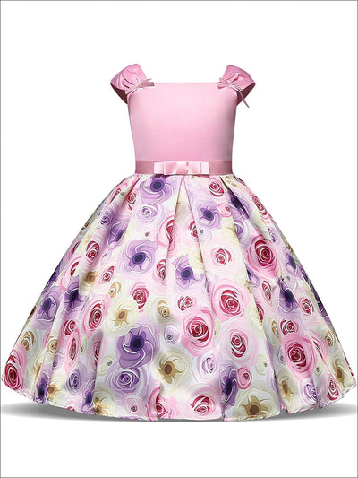 Girls Pink Sleeveless Floral Skirt Bow Applique Special Occasion Dress - Pink / 3T - Girls Spring Dressy Dress