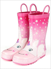 Girls Pink Star Print My Unicorn Made Me Do It Rubber Rain Boots - Pink / 1 - Girls Boots