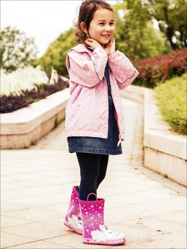 Girls Pink Star Print My Unicorn Made Me Do It Rubber Rain Boots - Girls Boots