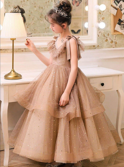 Girls Pink Tiered Gown - Girls Gowns