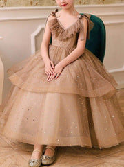 Girls Pink Tiered Gown - Brown / 2T - Girls Gowns