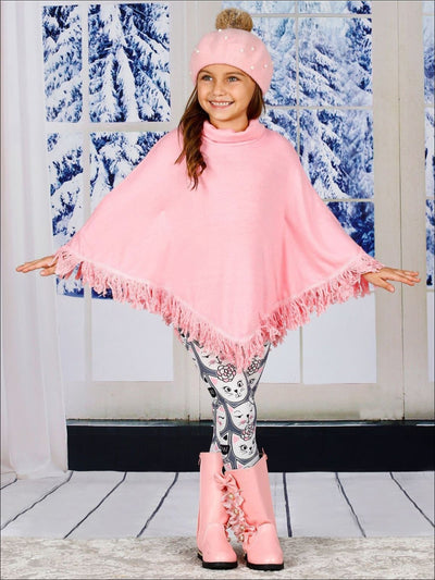 Girls Pink Turtle Neck Sweater Fringe Poncho & Kitty Print Leggings Set - Girls Fall Casual Set