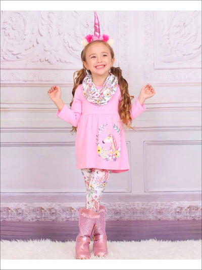 Girls Pink Unicorn Print Tunic Leggings & Scarf Set - Girls Fall Casual Set