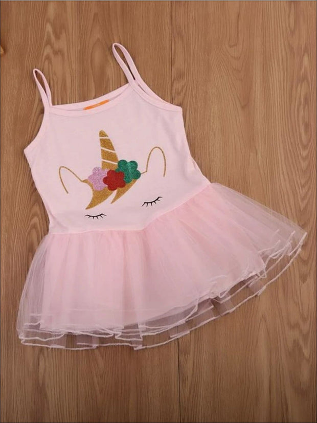 Girls Pink Unicorn Tutu Top - Pink / 2T - Girls Spring Top