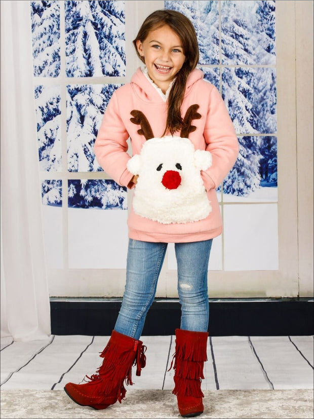 Girls Pink Warm & Cozy Fleece Lined Reindeer Hoodie - Girls Sweater