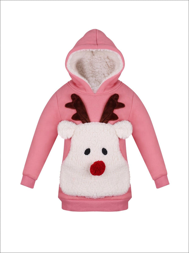 Girls Pink Warm & Cozy Fleece Lined Reindeer Hoodie - Pink / 2T/3T - Girls Sweater