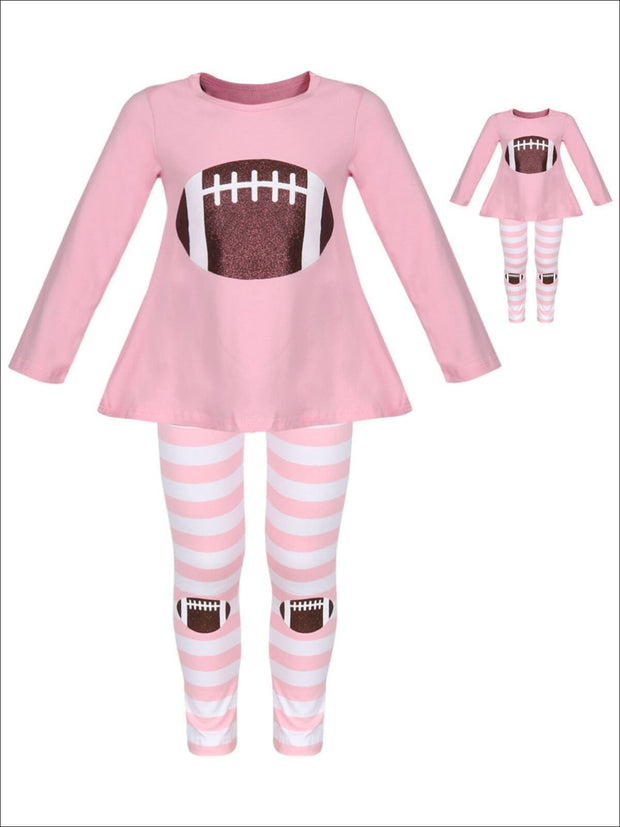 Girls Pink & White Long Sleeve Glittered Football Top & Striped Leggings Set with Matching Doll Set - Pink / XS-2T - Girls Fall Casual Set