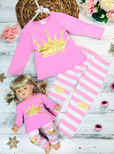 Girls Pink & White Long Sleeve Gold Crown Top & Striped Leggings Set with Matching Doll Set - Girls Fall Casual Set