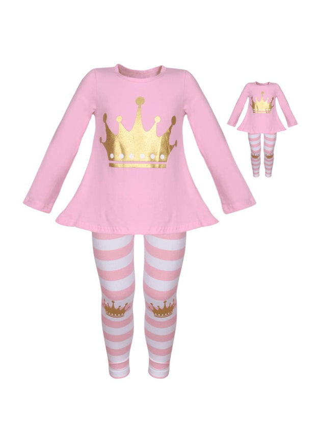 Girls Pink & White Long Sleeve Gold Crown Top & Striped Leggings Set with Matching Doll Set - Pink / XS-2T - Girls Fall Casual Set