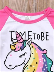 Girls Pink & White Unicorn Ruffled Long Sleeve Top - Girls Fall Top