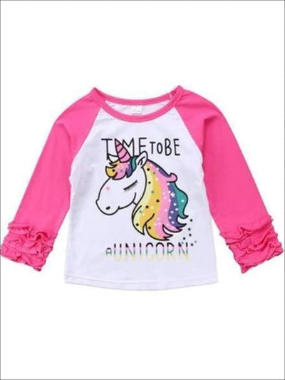 Girls Pink & White Unicorn Ruffled Long Sleeve Top - Pink/White / 3T - Girls Fall Top