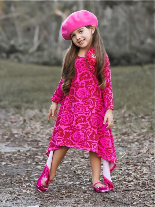 Girls Pink & Wine Medallion Print Sidetail Dress - Girls Fall Casual Dress
