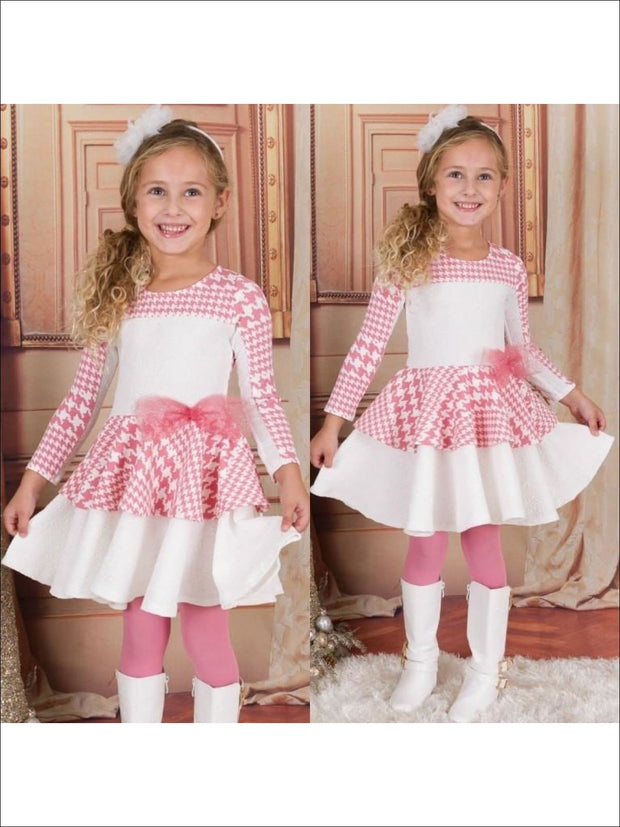 Girls Pink/Creme Print Blocked Skater Dress - 3T / Pink/Creme - Fall Low Stock