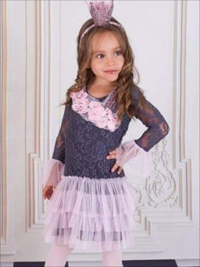 Girls Pink/Grey Three Tier Ruffle Lace Dress - Girls Fall Dressy Dress