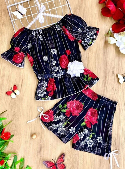 Girls Pinstripe Floral Off Shoulder Ruffle Top and Shorts Set - Girls Spring Casual Set