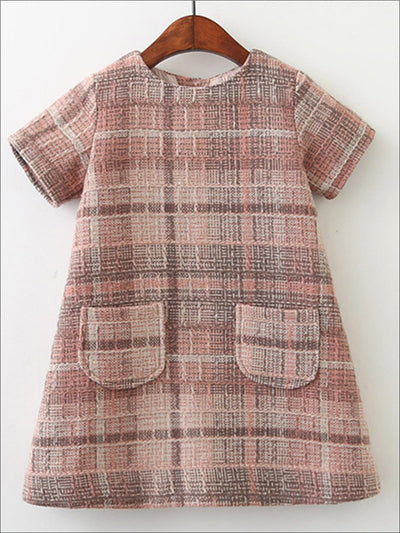 Girls Plaid A-Line Casual Dress With Front Pocket - Pink / 3T - Girls Fall Casual Dress