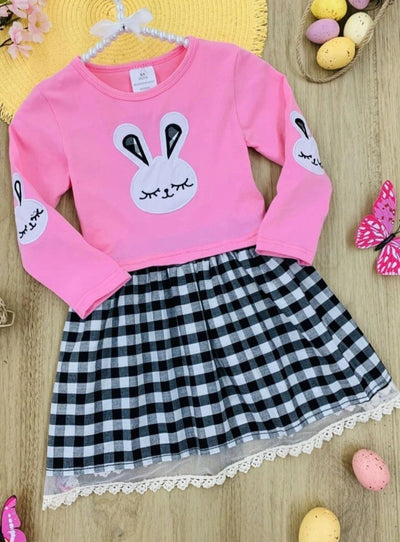 Girls Plaid Bunny Print Lace Hem Dress - Pink / 2T - Girls Spring Casual Dress