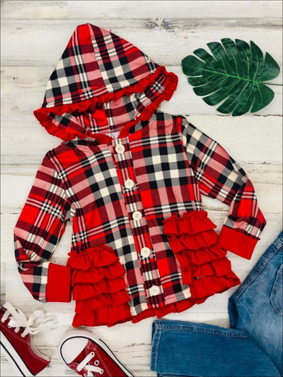 Girls Plaid Button Down Hooded Cardigan with Side Ruffles - Girls Sweater