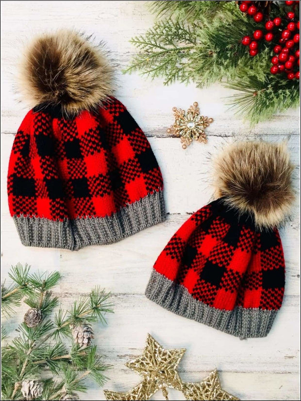 Girls Plaid Christmas Pom Pom Beanie Hat - Red / 18MOS-6Y - Girls Hat