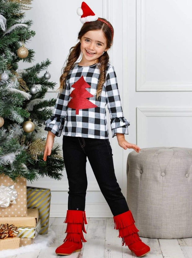 Girls Plaid Christmas Tree Ruffled Top and Cuffed Jeans Set - Girls Christmas Set