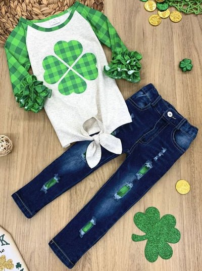 Girls Plaid Clover Ruffled Sleeve Knot Top and Ripped Jeans Set - Green / 2T - Girls St. Patricks Set