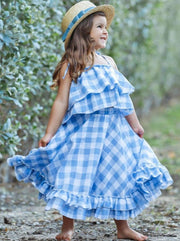 Girls Plaid Double Ruffle Crop Top and Maxi Skirt Set - Girls Spring Casual Set