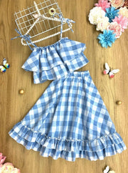 Girls Plaid Double Ruffle Crop Top and Maxi Skirt Set - Blue / 2T/3T - Girls Spring Casual Set