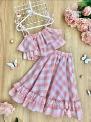 Girls Plaid Double Ruffle Crop Top and Maxi Skirt Set - Pink / 2T/3T - Girls Spring Casual Set