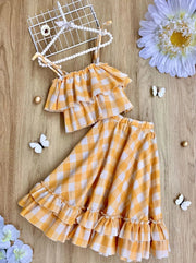 Girls Plaid Double Ruffle Crop Top and Maxi Skirt Set - Yellow / 2T/3T - Girls Spring Casual Set