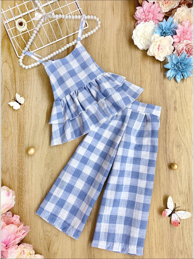 Girls Plaid Double Ruffle Top and Pants Set - Blue / 2T/3T - Girls Spring Casual Set