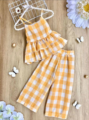 Girls Plaid Double Ruffle Top and Pants Set - Yellow / 2T/3T - Girls Spring Casual Set